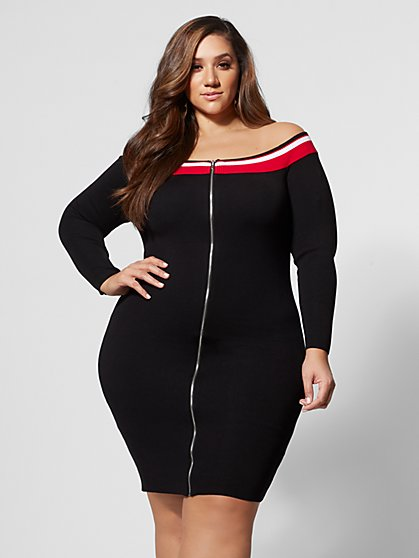 Plus Size Carla Off-Shoulder Sweater Dress - Fashion To Figure