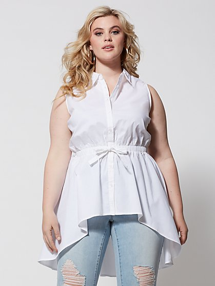 Plus Size Carleigh Tie-Waist Button-Up Top - Fashion To Figure