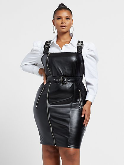 Plus Size Carolina Faux-Leather Overall Dress - Fashion To Figure