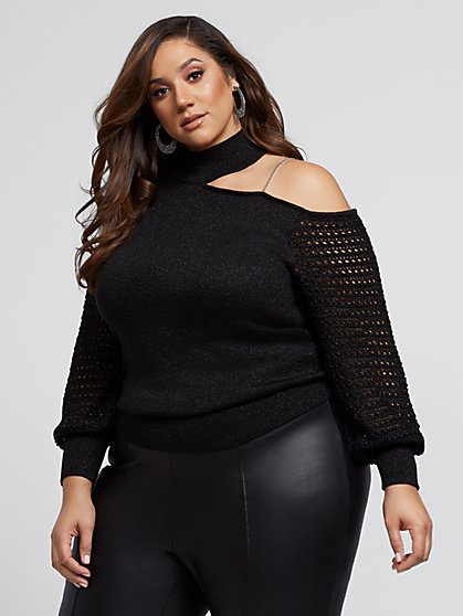 Plus Size Caroline Cut-Out Choker Sweater - Fashion To Figure