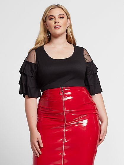 Plus Size Carrie Mesh & Ruffle Sleeve Top - Fashion To Figure