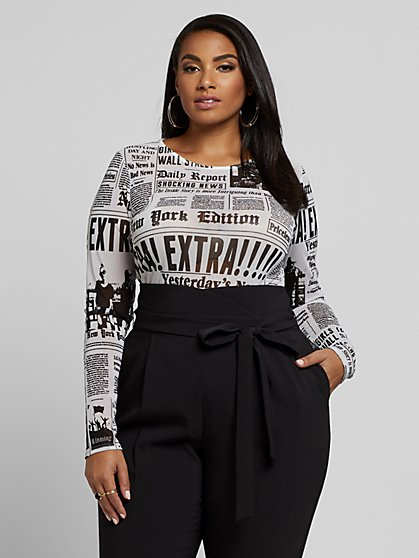Plus Size Carrie Newspaper Print Mesh Top - Fashion To Figure