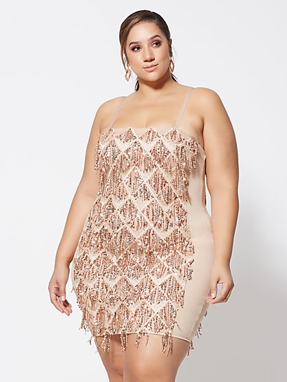 Plus Size Carrie Sequin Fringe Bodycon Dress - Fashion To Figure