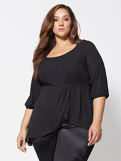 Plus Size Caryn Chiffon Drape Tunic - Fashion To Figure
