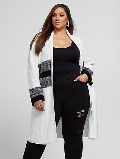 Plus Size Casey Color Block Cardigan Sweater - Fashion To Figure