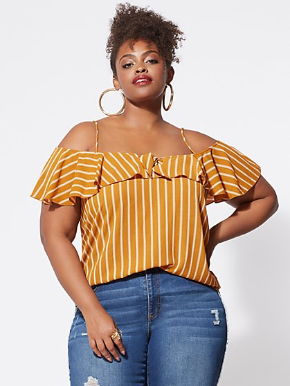 Plus Size Cassandra Cold-Shoulder Top - Fashion To Figure