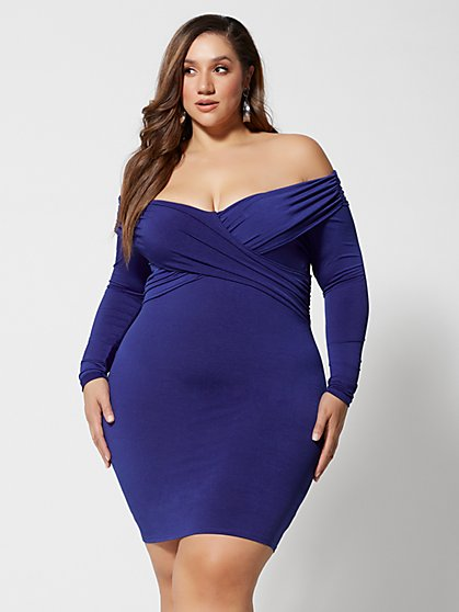 Plus Size Cassandra Off-Shoulder Bodycon Dress - Fashion To Figure