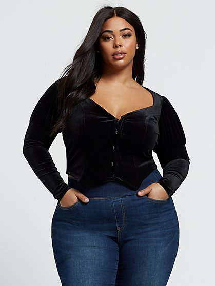 Plus Size Cassandra Velvet Puff Sleeve Crop Top - Fashion To Figure