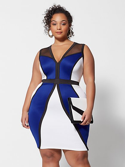 Plus Size Cassia Colorblock Bodycon Dress - Fashion To Figure