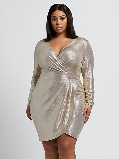 Plus Size Cassie Metallic Faux-Wrap Dress - Fashion To Figure