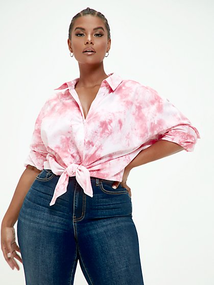 Plus Size Cassie Tie Dye Button Front Shirt - Fashion To Figure