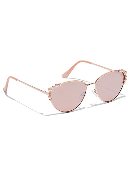 Plus Size Cat Eye Sunglasses with Pearl Detail - Fashion To Figure