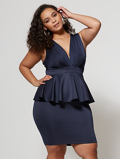 Plus Size Catalina Peplum Bodycon Dress - Fashion To Figure