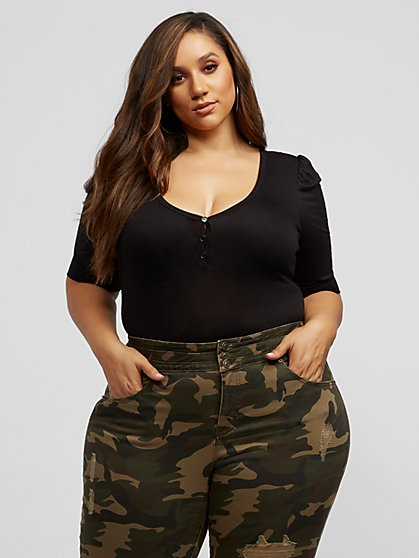 Plus Size Catalina Puff Sleeve Bodysuit - Fashion To Figure