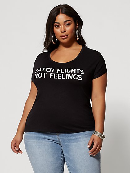 89d4b3fafde4 Plus Size Catch Flights Not Feelings Tee - Fashion To Figure ...