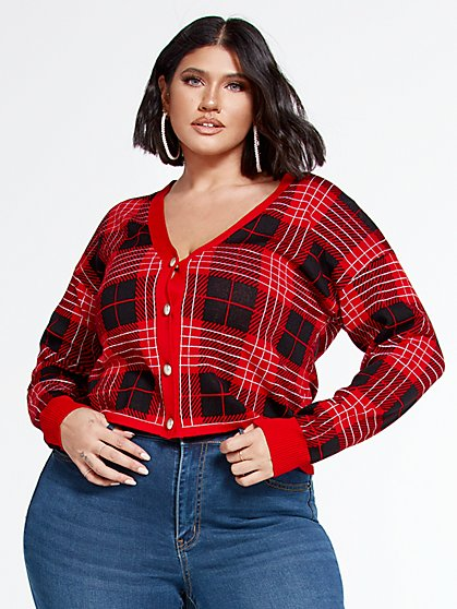 Plus Size Cece Plaid Crop Cardigan - Fashion To Figure
