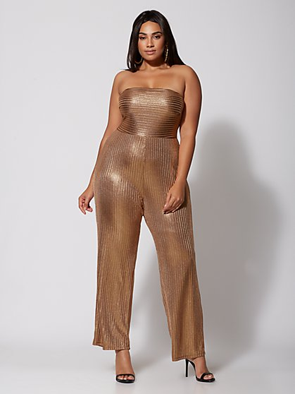 Plus Size Cecile Bronze Jumpsuit - Fashion To Figure