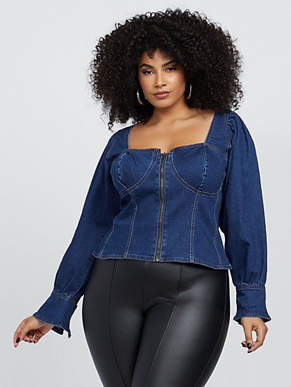 Plus Size Cecile Zip-Front Denim Top - Fashion To Figure