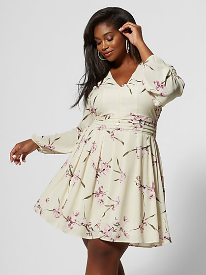 Plus Size Cecilia Floral Flare Dress - Fashion To Figure