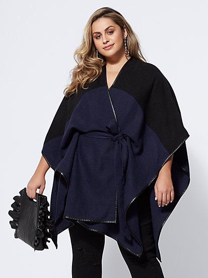 Plus Size Cecily Colorblock Ruana - Fashion To Figure