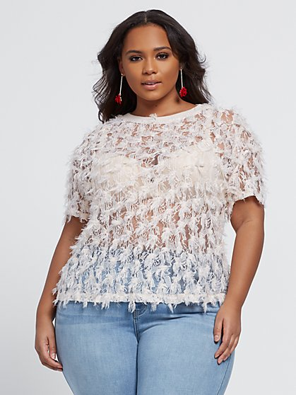 Plus Size Celestina Eyelash Detail Top - Fashion To Figure