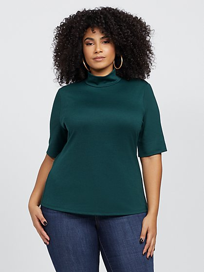 Plus Size Celestyn Mock Neck Top - Fashion To Figure
