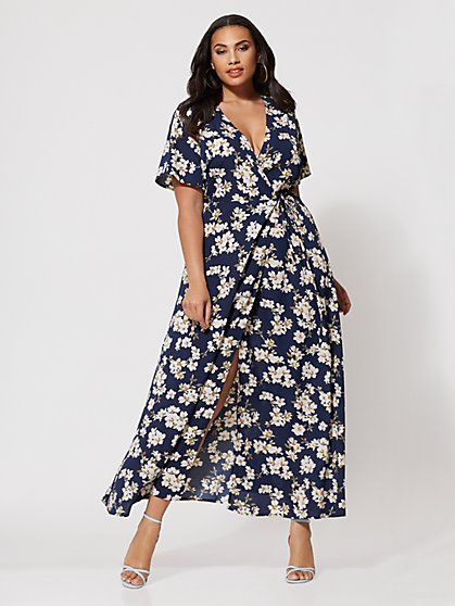 Plus Size Celia Floral Wrap Dress - Fashion To Figure