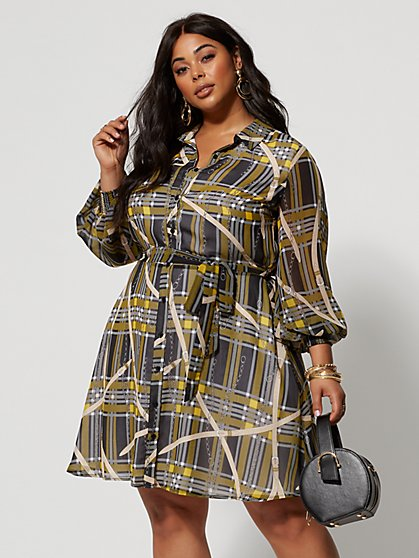 Plus Size Celia Printed Shirt Dress - Fashion To Figure