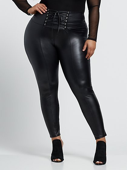 Plus Size Cerisa Faux-Leather Lace-Up Pants - Fashion To Figure