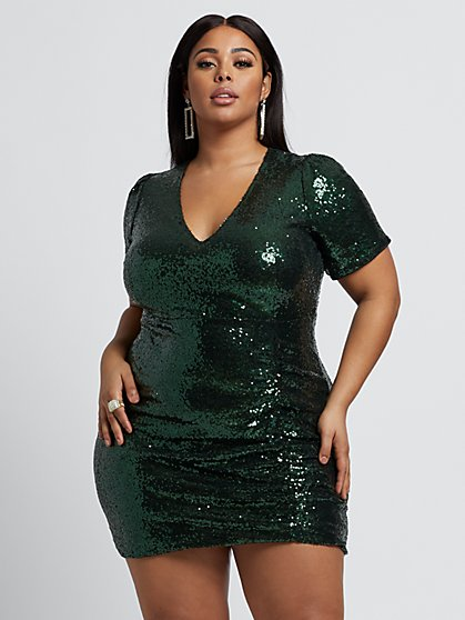 Plus Size Cerise Sequin Ruched Dress - Fashion To Figure