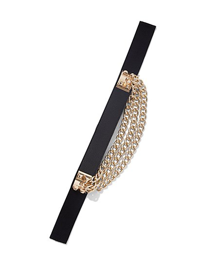 Plus Size Chain-Accented Stretch Belt - Fashion To Figure