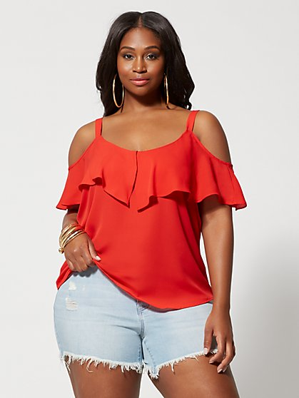 bedb5aea1db Plus Size Chandra Cold-Shoulder Top - Fashion To Figure ...