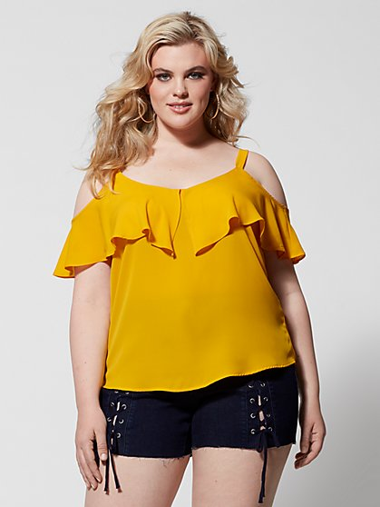 Plus Size Chandra Cold-Shoulder Top - Fashion To Figure