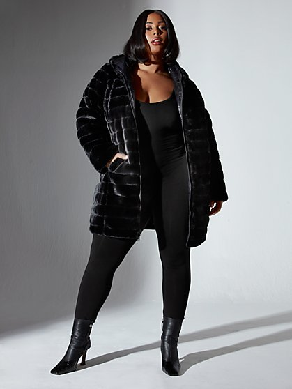 Plus Size Chandra Hooded Reversible Faux Fur Puffer Jacket - Fashion To Figure