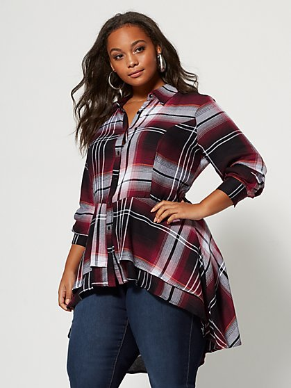 Plus Size Chandra Plaid Peplum Top - Fashion To Figure