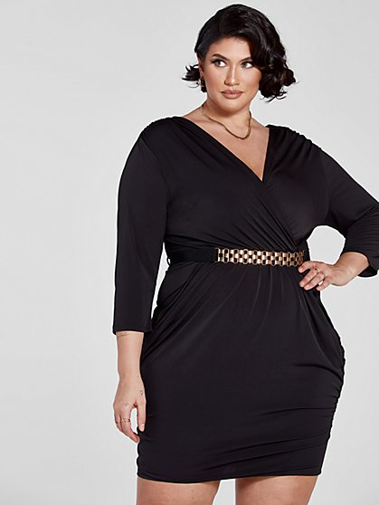 Plus Size Chanelle Belted Dress - Fashion To Figure