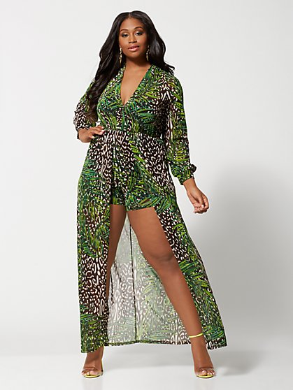 e074a061503 Plus Size Chantel Palm Romper Maxi - Fashion To Figure ...