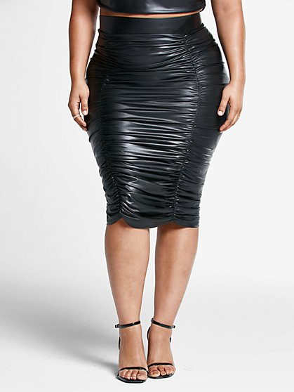 Plus Size Chantel Ruched Midi Skirt - Fashion To Figure