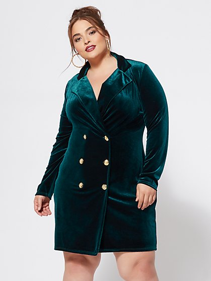 Plus Size Charice Velvet Blazer Dress - Fashion To Figure