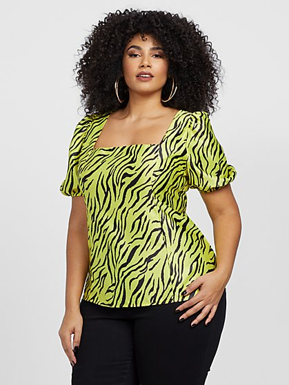 Plus Size Charli Neon Zebra Print Top - Fashion To Figure