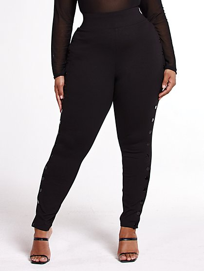 Plus Size Charli Side Button Good Form Ponte Knit Pants - Fashion To Figure