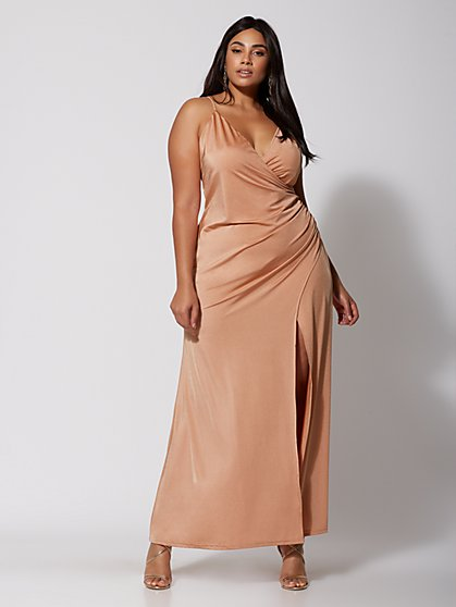 Plus Size Charlotte Rose Gold Maxi Dress - Fashion To Figure