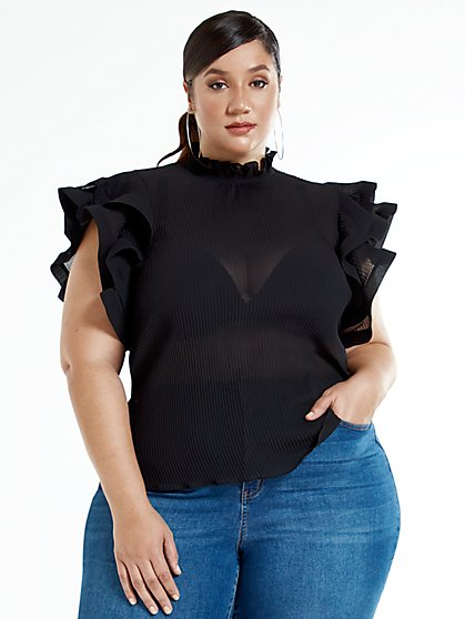 Plus Size Charlotte Ruffle Sleeve Top - Fashion To Figure
