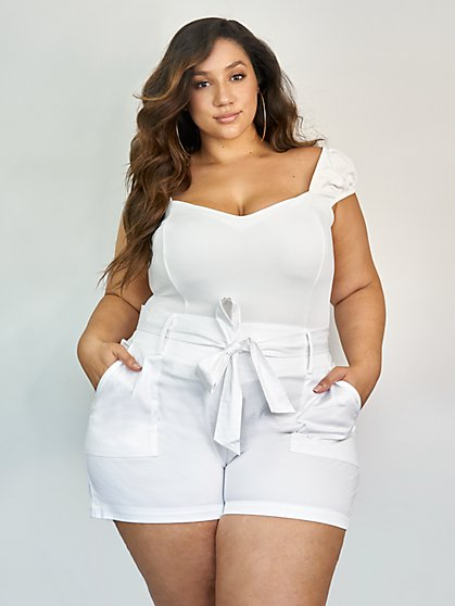 Plus Size Charlotte Tie Waist Shorts - Gabrielle Union x FTF - Fashion To Figure