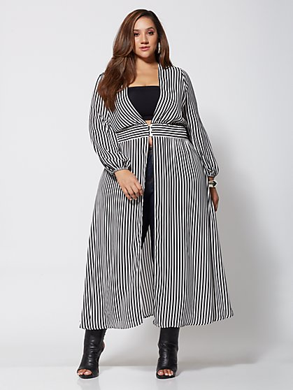 Plus Size Charmaine Striped Duster - Fashion To Figure