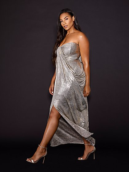 Plus Size Chastity Gold-Tone Draped Maxi Dress - Gabrielle Union x FTF - Fashion To Figure