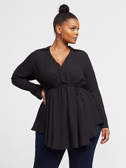 Plus Size Chauncey Peplum Blouse - Fashion To Figure
