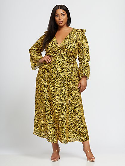 Plus Size Chelsea Animal Print Ruffle Maxi Dress - Fashion To Figure