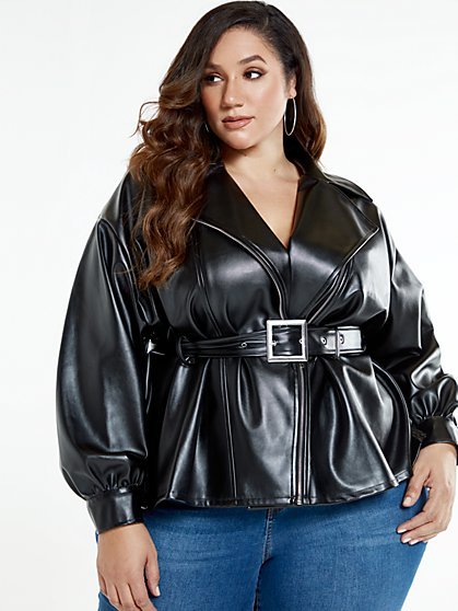 Plus Size Chelsea Peplum Belted Jacket - Fashion To Figure