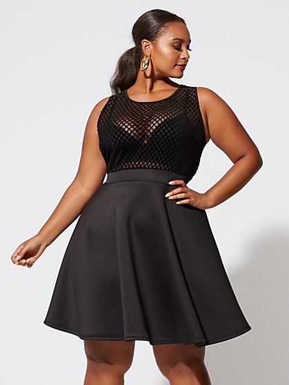 Plus Size Chelsie Mesh Flare Dress - Fashion To Figure